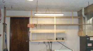 garage storage wood shelving